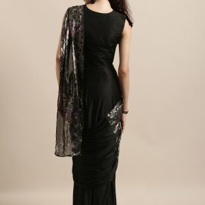 Black-Ready-to-Wear-One-Minute-Saree-vedaclothing-back