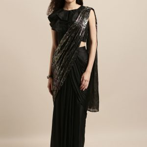 Black-Ready-to-Wear-One-Minute-Saree-vedaclothing-front