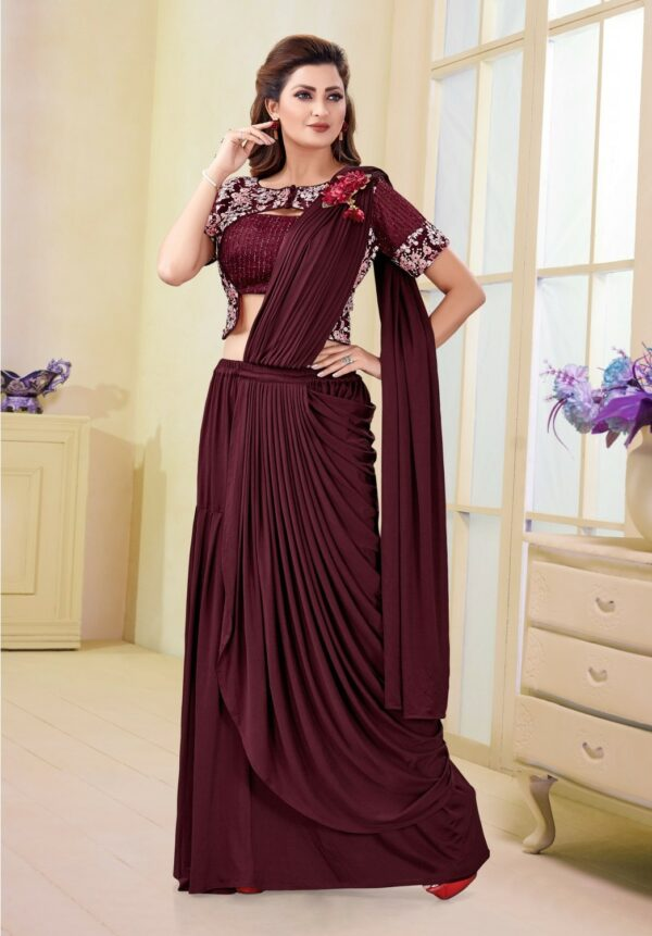 Maroon-Latest-Designer-Fancy-Readymade-Saree-vedaclothing