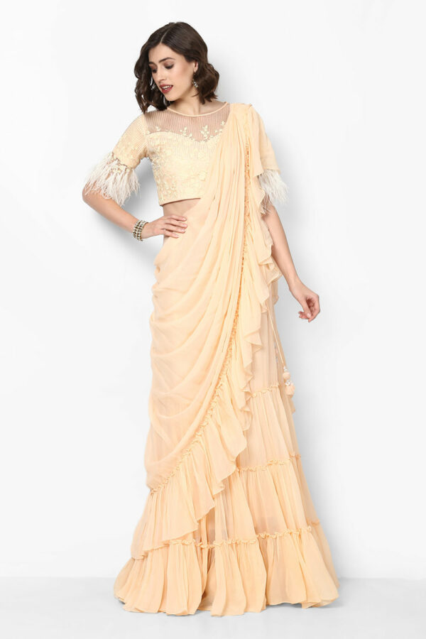 cream-pre-stitched-ruffled-saree-with-blouse