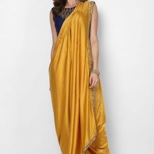 yellow-pre-stitched-saree-with-navy-blue-blouse