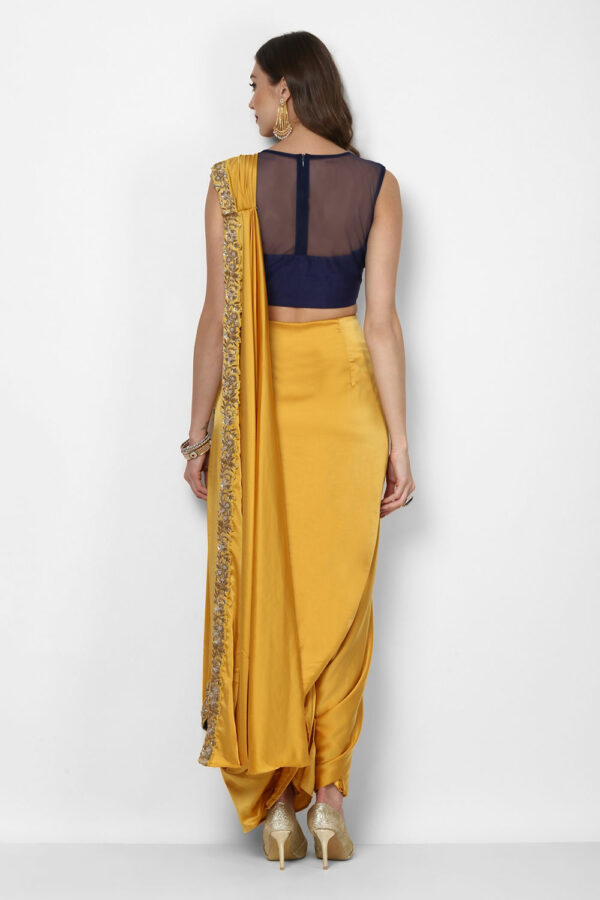 yellow-pre-stitched-saree-with-navy-blue-blouse-back