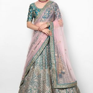 Niyoosh-peacock-blue-lehenga-front