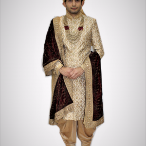 Varsa Golden Sherwani with Golden Dhoti