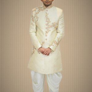 Varsa Off-White Sherwani with White Dhoti on Rent