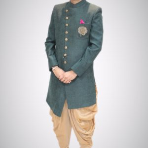 Green Art Silk Sherwani on Rent: Indo Western