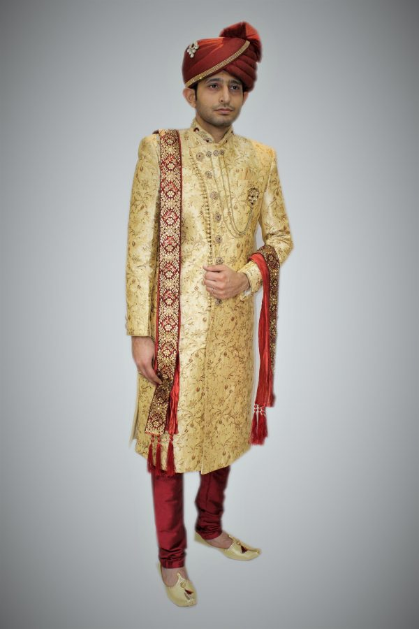 Swatantrata Golden Sherwani with Red Churidar