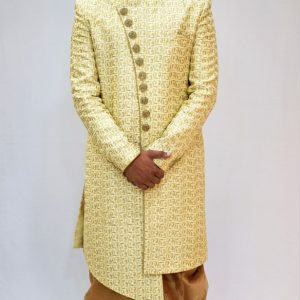 Golden White Sherwani along with Pyjami.