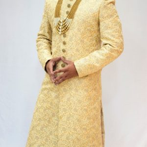 Golden White Sherwani along with Dhoti