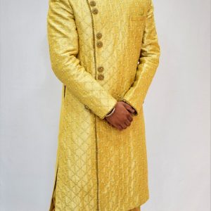Golden White Sherwani along with Pyjami for Groom