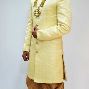 Veda Clothing: Golden White Sherwani Style S-5