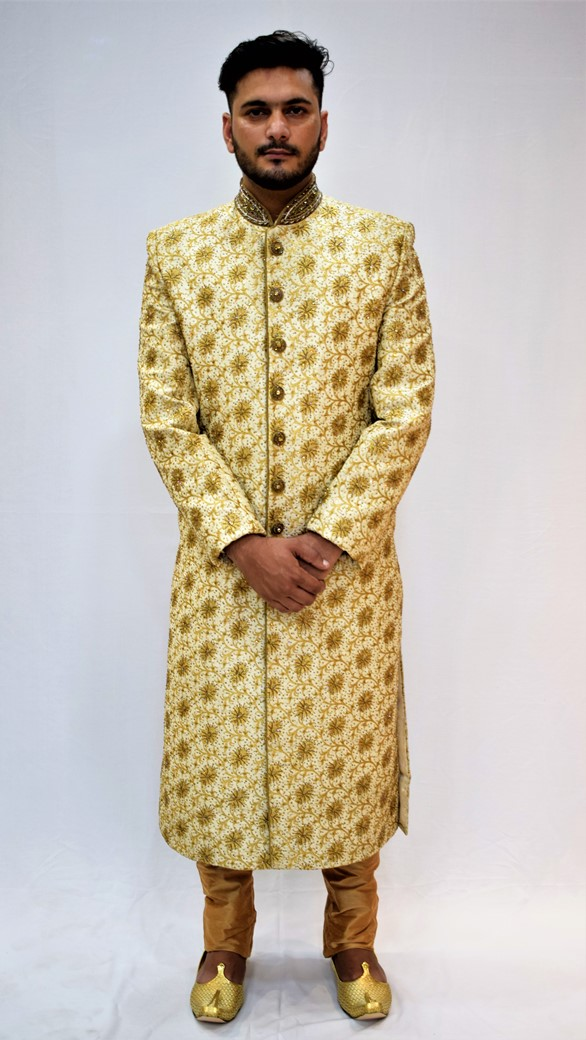 Veda Clothing: Golden White Sherwani Style S-8