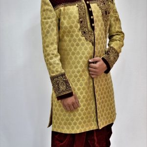 Veda Clothing: Golden White Sherwani Style S-9