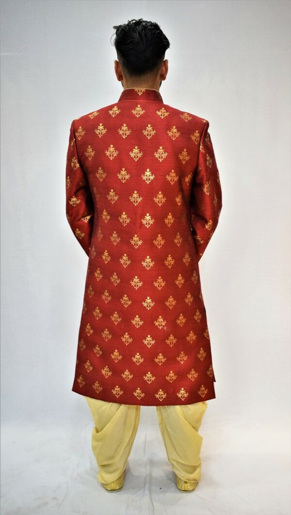 Red Achkan with Golden Dhoti: Indo Western Style #I-1