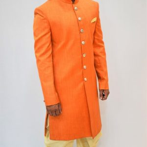Orange Achkan with Golden Dhoti: Indo Western Style #I-2