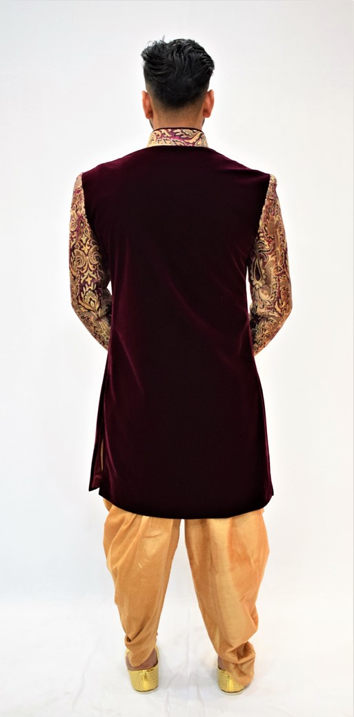 Purple Achkan with Golden Dhoti: Indo Western Style #I-3