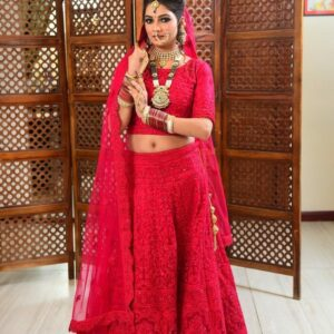 Rani Semi Bridal Lehenga on Rent