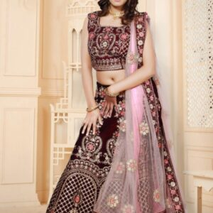 Wine Ebrodiary Lehenga on Rent