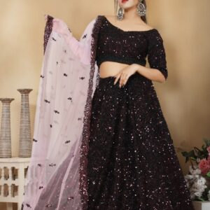 Purple Sequence Lehenga on Rent