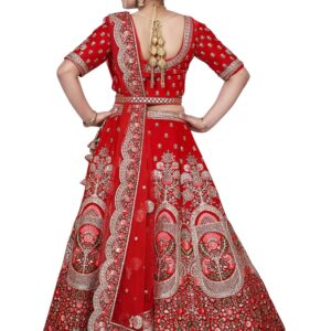 Red Bridal Lehenga on rent with Embroidered work
