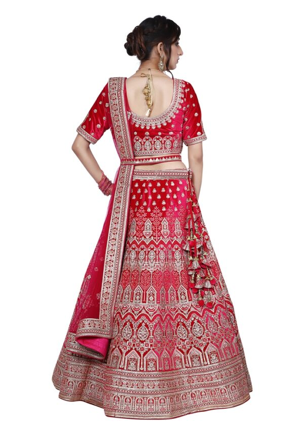 Beautiful Pink Embroidery Bridal Lehenga on Rent