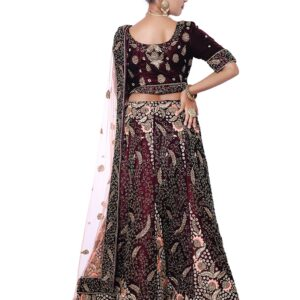 Wine Bridal Lehenga on Rent
