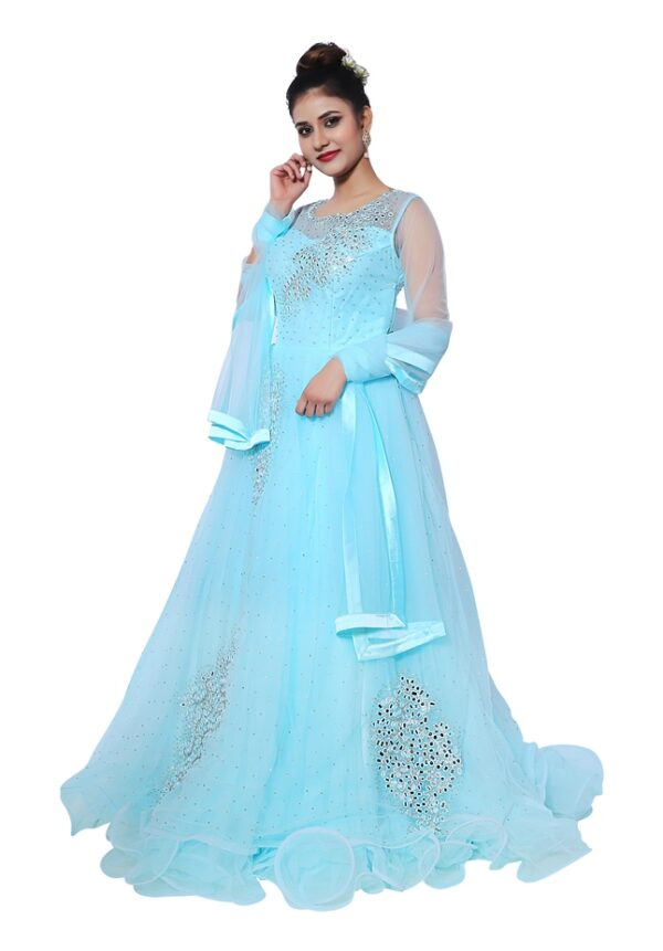 Sky Blue Gown on Rent
